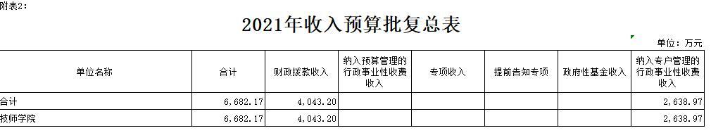 2021年部门预算批复报表(公开)
